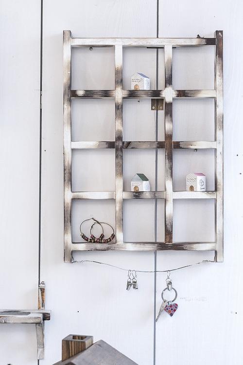 12ブロックシェルフ アンティーク 12マス 飾り棚 小物棚 フィギュア棚 木製棚 送料無料