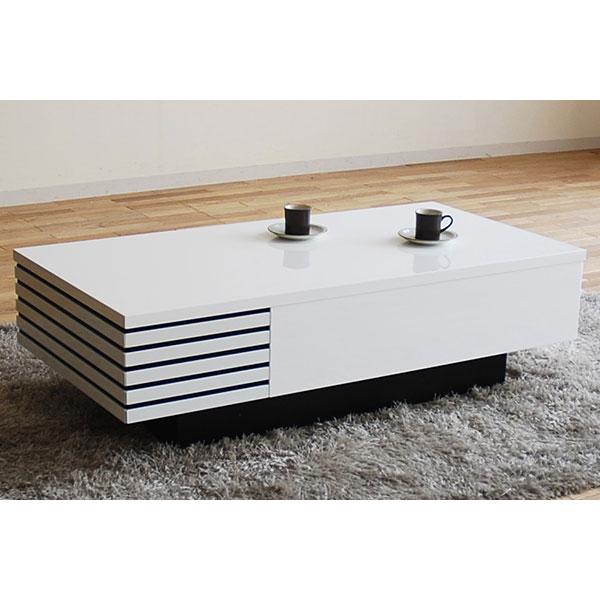 モリタインテリア リビングテーブル 幅110cm 収納付き LT-46937SW ホワイト【一部地域開梱設置無料】【代引き不可】