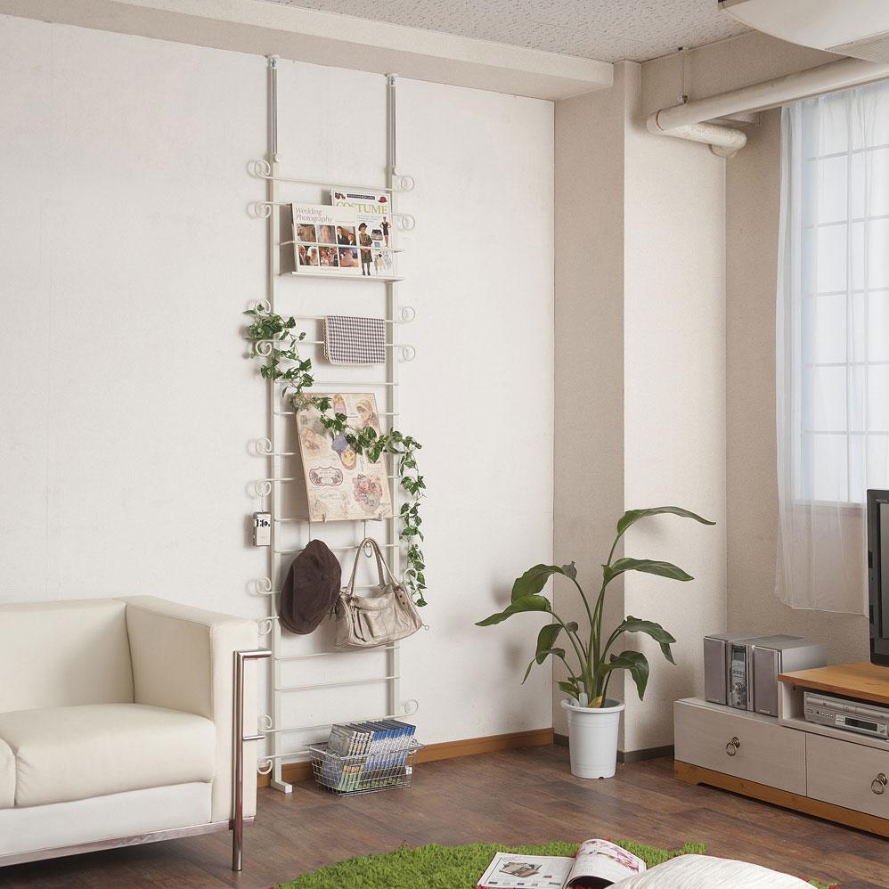 日本製 突っ張り 壁面 カーリーデザイン ラダーラック 幅60cm ホワイト色 NJ-0443【代引きのみ】