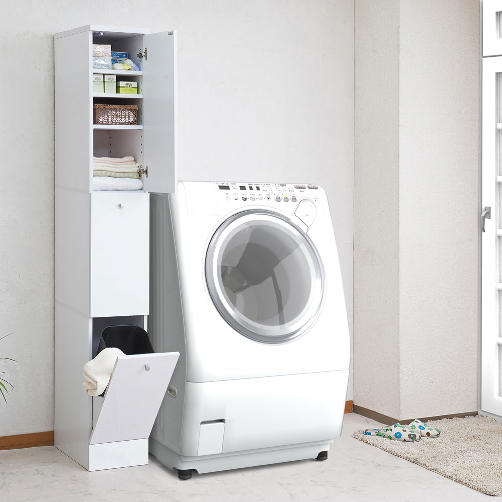 送料無料 収納 洗濯物 隙間 ランドリー 特別セール品 脱衣所 洗面所 幅25 高額売筋 ホワイト FY-0053 ランドリーラック スリム 代引きのみ