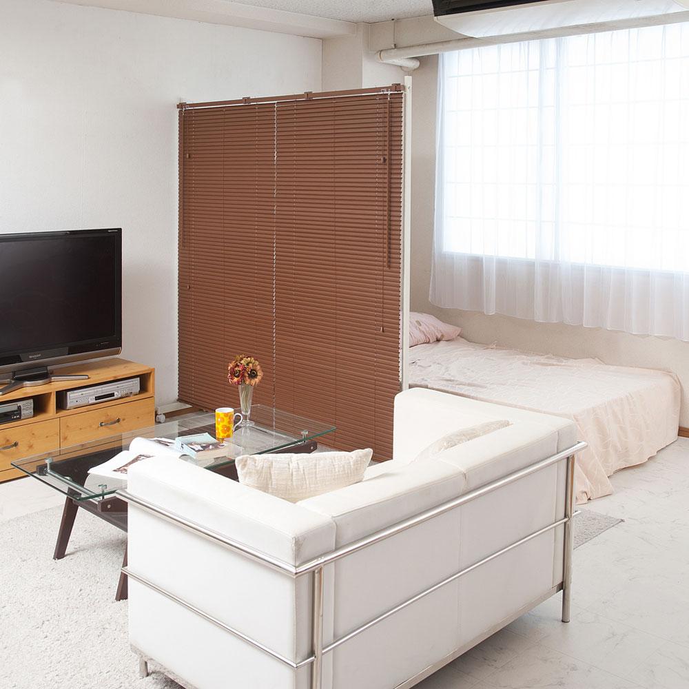 日本製 ブラインド パーテーション 幅90cm キャスター付 シングルタイプ ブラウン NJ-0461【代引きのみ】