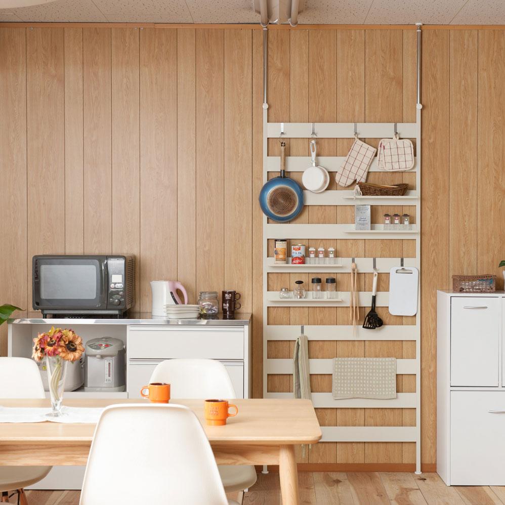 最新デザインの 日本製 棚4枚付 ラダーラック 壁面 突っ張り ラダーラック 幅86 棚4枚付 ホワイト NJ-0522【代引きのみ ホワイト】, ミサキマチ:29e19426 --- hyojubibaushi.xyz