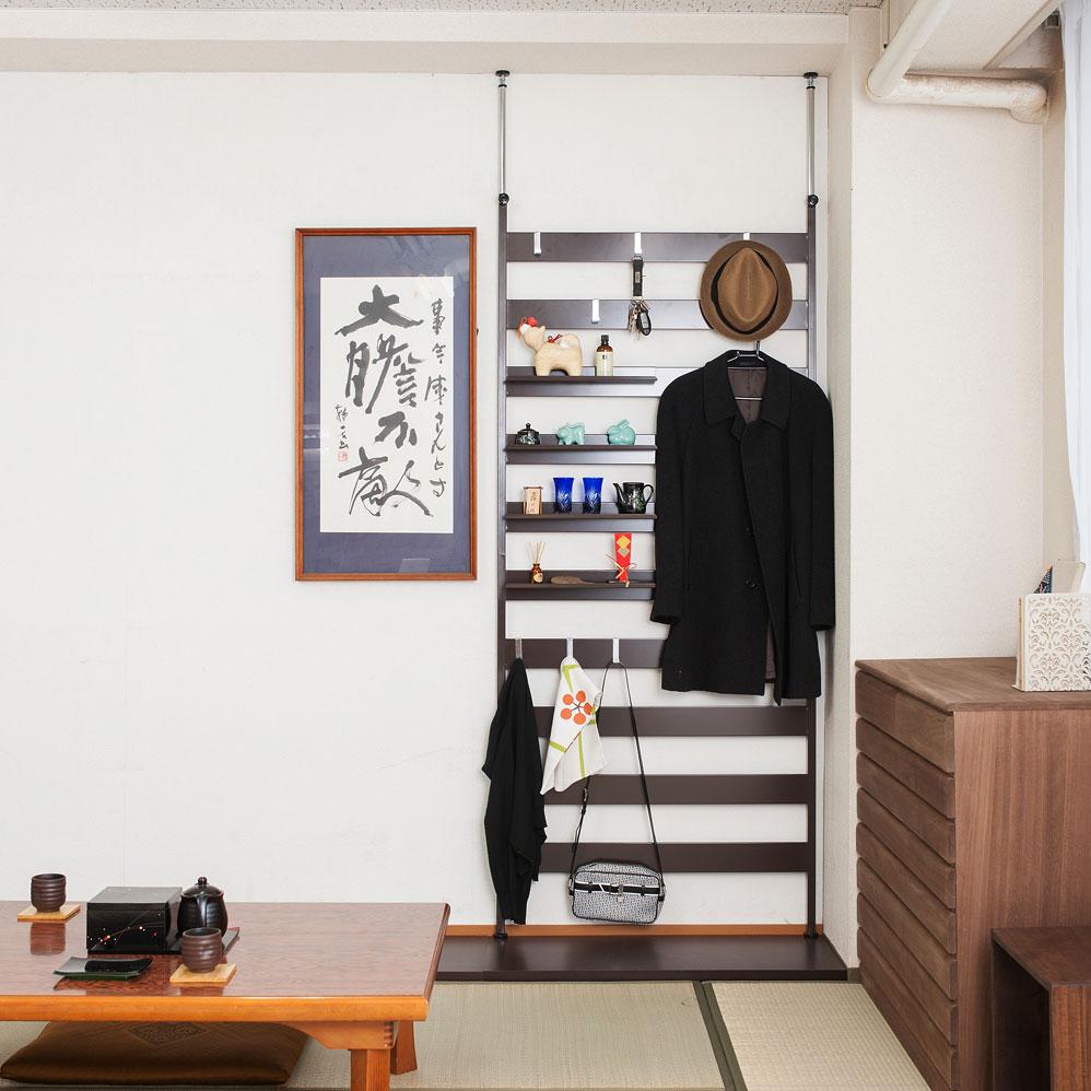 日本製 壁面 突っ張り ラダーラック 幅86 棚4枚付 ブラウン NJ-0524【代引きのみ】