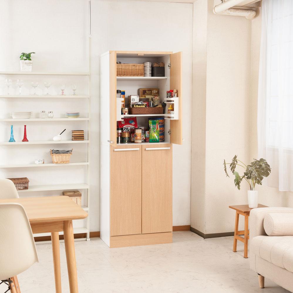 キッチンシリーズ Neat 大容量 キッチンストッカー 幅60 ナチュラル FY-0042【代引きのみ】