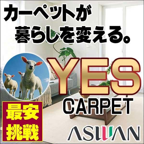 カーペット 激安 毛100% ウールカーペット アスワン YES 玄関マット(90×130cm)広巾テープ加工 カーペット:アスグラッツ/GLT
