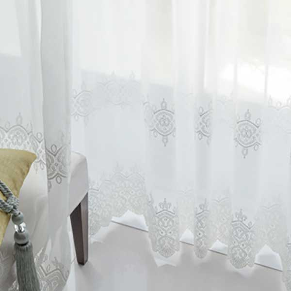 カーテン シェード 川島織物セルコン TRANSPARENCE FT6657 スタンダード縫製 約1.5倍ヒダ ヨコ使い 裾刺繍