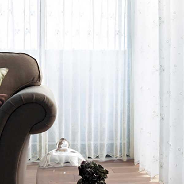 カーテン シェード 川島織物セルコン TRANSPARENCE FT6659 スタンダード縫製 約1.5倍ヒダ ヨコ使い 裾刺繍
