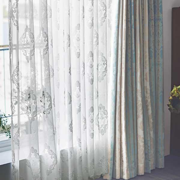 カーテン シェード 川島織物セルコン TRANSPARENCE FT6665 スタンダード縫製 約2倍ヒダ ヨコ使い 裾刺繍
