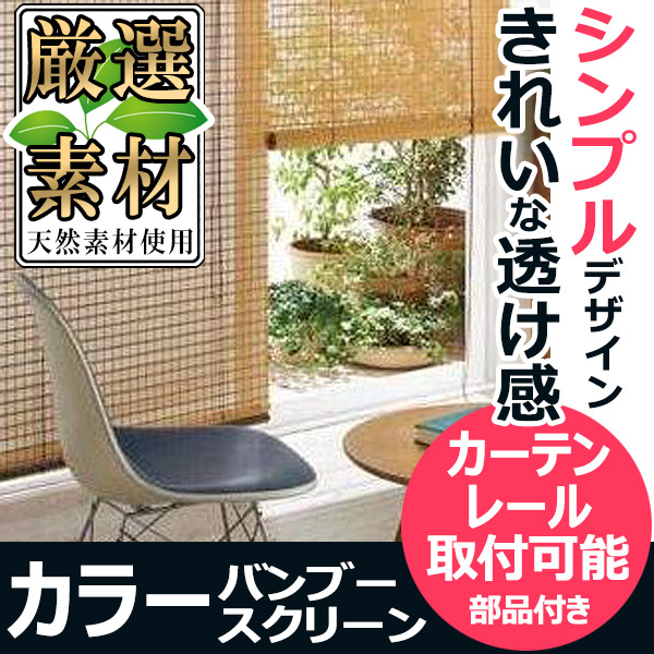 竹 バンブー 天然素材 カーテンレール取付け可能 スクリーン 和モダン アレンジ DIY カラーバンブースクリーン