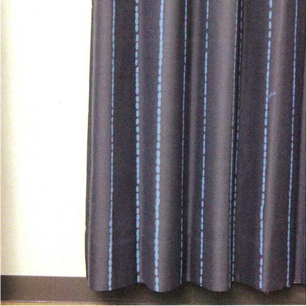 カーテン 激安 ノイエ(neue)のオーダーカーテン プルーン ドットストライプ オーダーカーテン(形態安定加工) 約1.5倍ヒダ