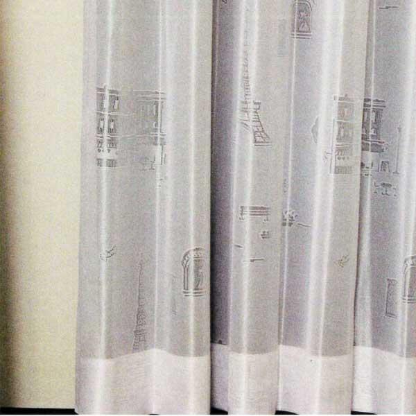 カーテン 激安 ノイエ(neue)のオーダーカーテン プルーン レースパリの絵 オーダーカーテン(標準縫製) 約1.5倍ヒダ