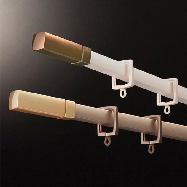 カーテンレール 激安 タチカワの装飾カーテンレール ルナージュ+ファンティアフィールα静音(同色) ダブル正面付けセット フィニアル 1.2m(L・S)