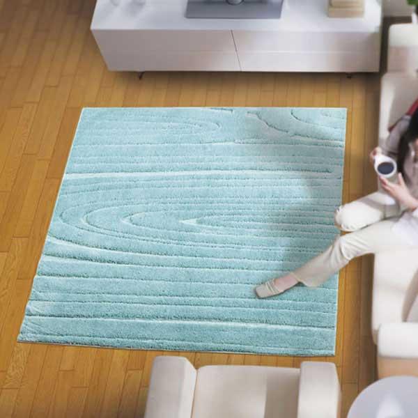 ラグ・カーペット・絨毯・マットきれいめラグだから美しいアスワンラグ オルガBL(ブルー) 130X190cm