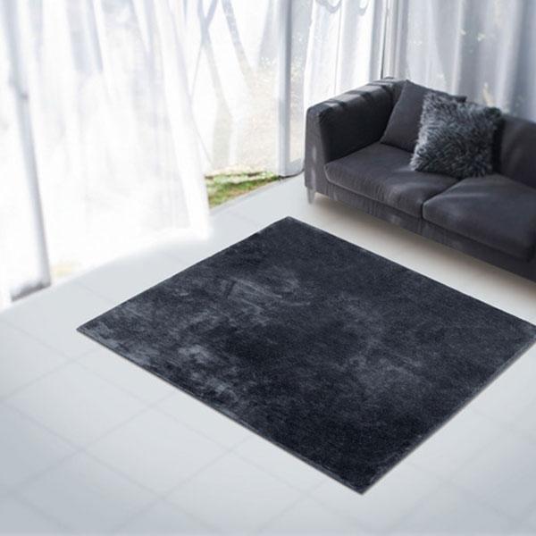 ラグ・カーペット・絨毯・マット大人気のファーラグは早いもの勝ち!アスワンラグ ミンクBK(ブラック) 200X200cm