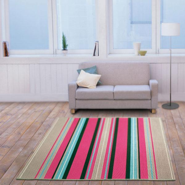 ラグ・カーペット・絨毯・マット洗えるラグはオールシーズン対応のアスワンラグ ACTIVE(ピンク) 170cm丸