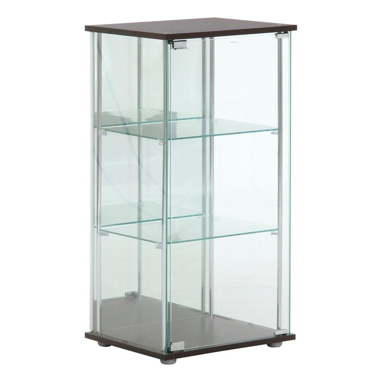 【送料無料_b】リビング ガラスコレクションケース TMG-G02 3段 高さ90cm ブラウン
