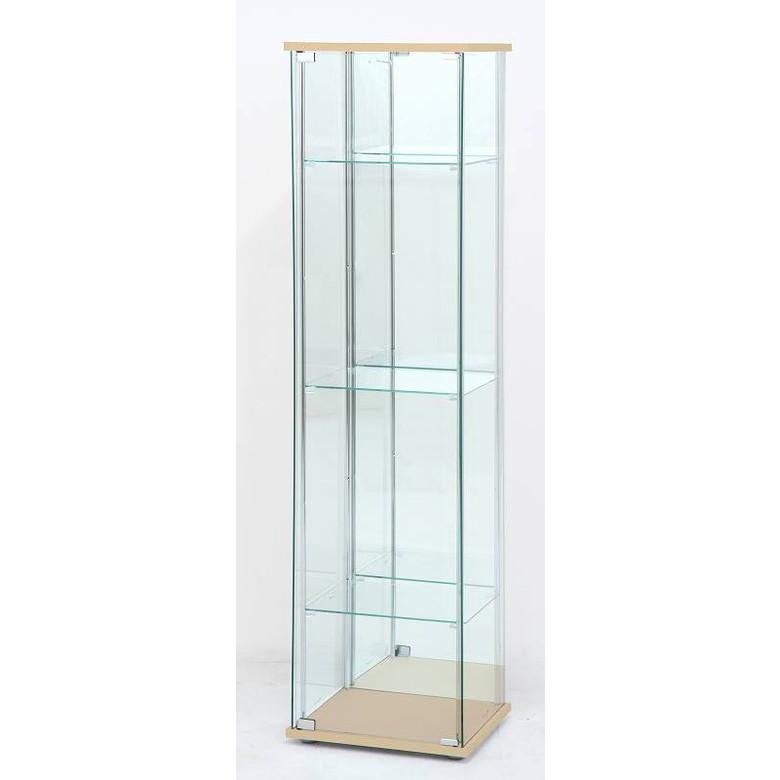 【送料無料_f】リビング ガラスコレクションケース 4段 背面ミラー付