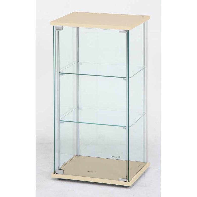 【送料無料_f】リビング ガラスコレクションケース 3段 ナチュラル/ホワイト/ブラウン