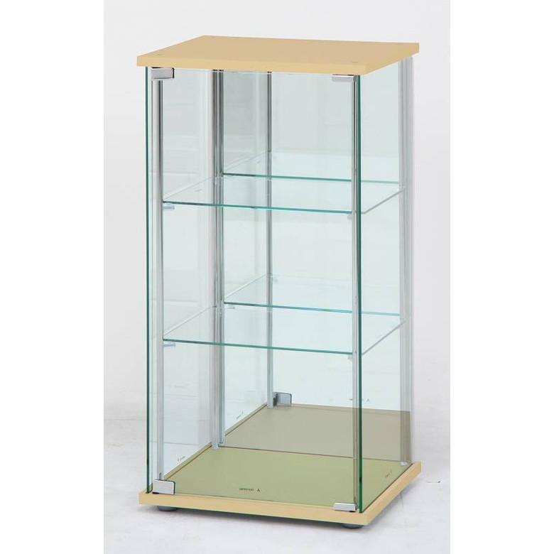 【送料無料_f】リビング ガラスコレクションケース 3段 背面ミラー付