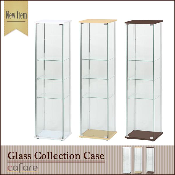 【送料無料_f】リビング ガラスコレクションケース 4段 ナチュラル/ホワイト/ブラウン