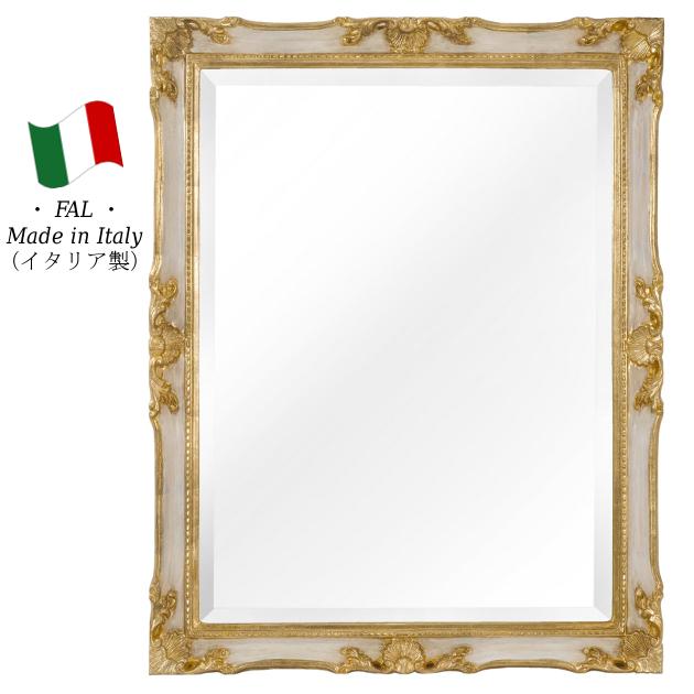 ミラー 壁掛け ウォールミラー 鏡 【送料無料】 イタリア製 bci-8105 bci8105 角型 ホワイト