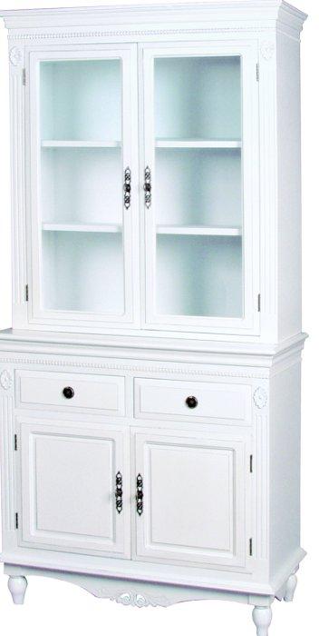 デュエット Duet キャビネット 幅90 【送料無料】 食器棚 収納 ホワイト 輸入家具 白家具 姫系 家具 bcc7568 bcc-7568 完成品