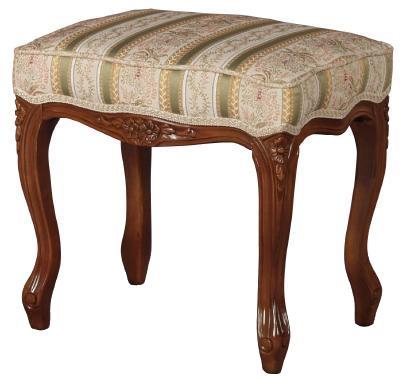 フィオーレ スツール 布張り 背もたれなし 【送料無料】 おしゃれ 木製 完成品 チェア 椅子 sa-c-1470-b1 家具 輸入家具 sac-1470-b1 sac-1470b1 いす イス 姫系 ロココ オットマン Fiore