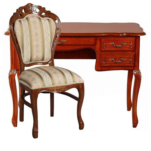 Fiore Desk Chairs Set Completed Wood Rococo Furniture Imports Antique White Series Sa C 1747 B Sac 1734 B1