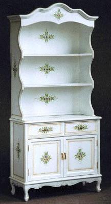 【送料無料】飾り棚 4枚戸 飾棚 コモ お姫様家具 白家具 クラック塗装