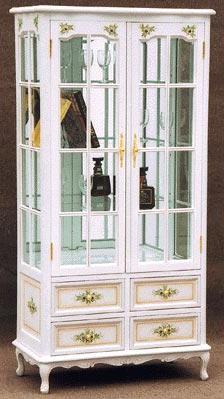 【送料無料】2枚戸 飾り棚 二枚戸飾りだな コモ お姫様家具 白家具 クラック塗装 関西 大阪 難波