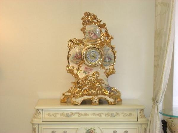 アウラー 置時計 【送料無料】贈答 贈答品 ゴールド 金 時計 置時計 雑貨 クロック 時計 高級時計 祝い イタリア 豪華 陶器 アウラー AURA 大きい 豪華 ゴージャス高い 値打ち アンティーク リビング ダイニング