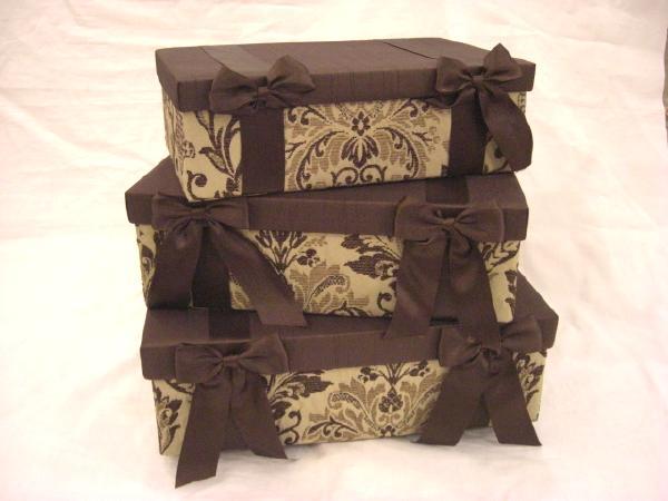 3点 フリーBOX ブラウン【送料無料】 ボックス 箱 収納箱 紙箱 お洒落な箱 3点 3連 3連ボックス フリーボックス