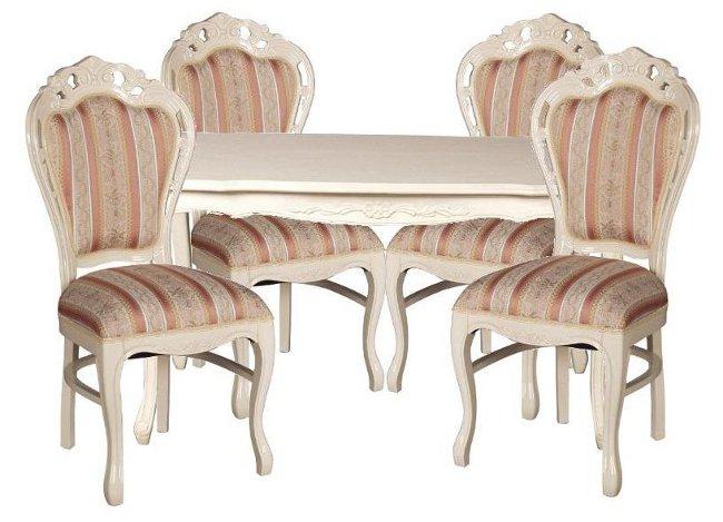フィオーレ ダイニングセット 5点 【送料無料】 sa-c-1174-w3-135 sa-c-1734-w5 ダイニングテーブルセット ダイニングテーブル set 4人 テーブルセット テーブル ホワイト 白家具 食卓 ロココ アンティーク 姫系 木製 家具 輸入家具 Fiore