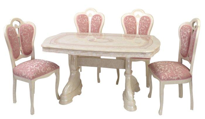 サルタレッリ アマルフィ ダイニングセット 5点 幅145 【送料無料】 白家具 SAMI-617-IV SFLI-521-IVP ダイニングテーブルセット ダイニングテーブル 4人 テーブルセット テーブル 家具 輸入家具 イタリア家具 姫系