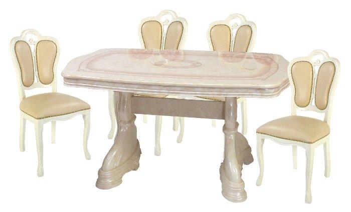 サルタレッリ アマルフィ ダイニングセット 5点 幅145 【送料無料】 SAMI-617-IV SFLI-522-IV ダイニングテーブルセット ダイニングテーブル 4人 テーブルセット テーブル 家具 輸入家具 イタリア家具 姫系 白家具