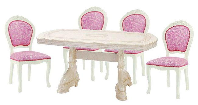 サルタレッリ アマルフィ ダイニングセット 5点 幅165 【送料無料】 SAMI-616-IV SAMI-618-IVP ダイニングテーブルセット ダイニングテーブル 4人 テーブルセット テーブル 家具 輸入家具 イタリア家具 姫系 白家具