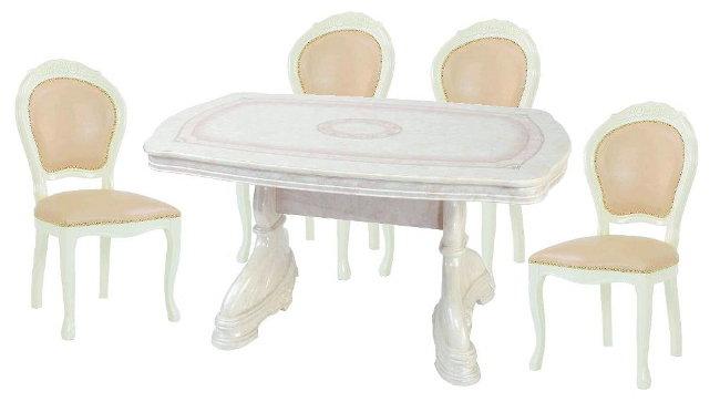 サルタレッリ アマルフィ ダイニングセット 5点 幅145 【送料無料】 SAMI-617-IV SAMI-618-IV ダイニングテーブルセット ダイニングテーブル 4人 テーブルセット テーブル 家具 輸入家具 イタリア家具 姫系 白家具