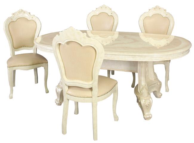 サルタレッリ ヴェルサイユ ダイニングセット 5点 幅180 【送料無料】 SVEI-706-IV SVEI-708-IV ダイニングテーブルセット ダイニングテーブル 4人 テーブルセット テーブル 家具 輸入家具 イタリア家具 姫系 白家具