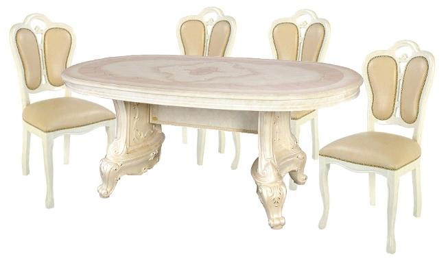 サルタレッリ ヴェルサイユ ダイニングセット 5点 幅180 【送料無料】 SVEI-706-IV SFLI-522-IV ダイニングテーブルセット ダイニングテーブル 4人 テーブルセット テーブル 家具 輸入家具 イタリア家具 姫系 白家具