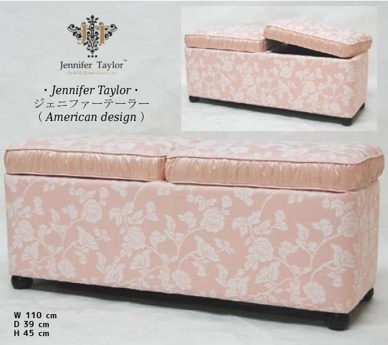 ジェニファーテイラ- ベンチ (ボックス付) Heirloom pink ヘアルーム ピンク 【送料無料】 jennifer taylor ジェニファー テイラー ジェニファーテーラー jennifertaylor hp-2411-p 椅子 イス スツール チェア 輸入家具