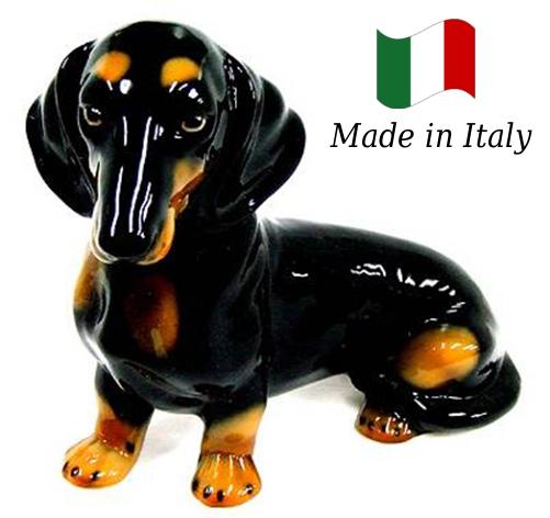 ミニチュアダックスフント 置物 オブジェ h6-234-db 【送料無料】 イタリア 陶器 動物 雑貨 犬 イヌ