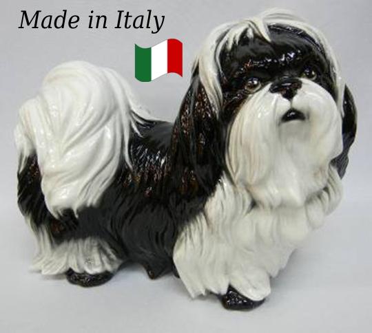 シーズー 置物 オブジェ h6-214sww 【送料無料】 イタリア 陶器 動物 雑貨 犬 イヌ