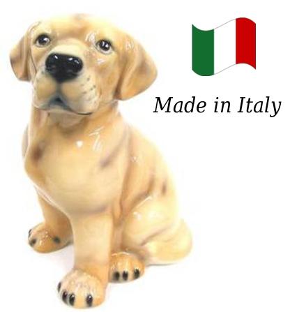 ラブラドール 置物 オブジェ h6-49 【送料無料】 イタリア 陶器 動物 雑貨 犬 イヌ
