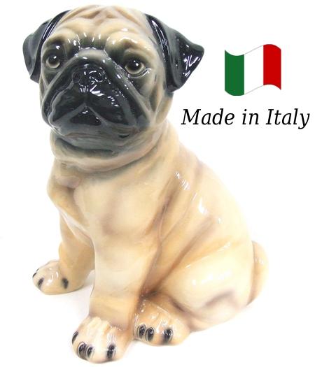 パグ 置物 オブジェ h6-48 【送料無料】 イタリア 陶器 動物 雑貨 犬 イヌ