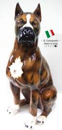 ボクサー 置物 オブジェ 111t 【送料無料】 イタリア 陶器 動物 雑貨 犬 イヌ