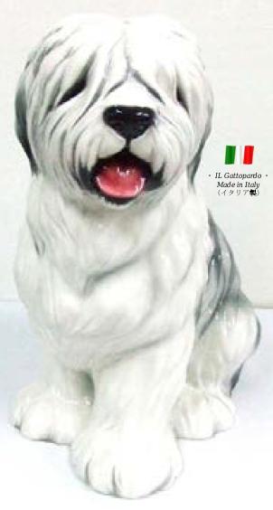ボブテール 置物 オブジェ h6-61 【送料無料】 イタリア 陶器 動物 雑貨 犬 イヌ