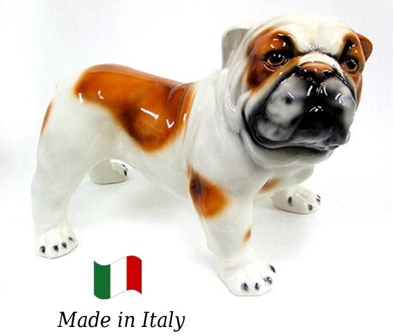 ブルドッグ 置物 オブジェ h6-261ba 【送料無料】 イタリア 陶器 動物 雑貨 犬 イヌ
