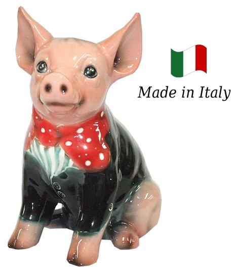 ブタ 置物 オブジェ h6-47smo 【送料無料】 イタリア 陶器 動物 雑貨 豚 ぶた