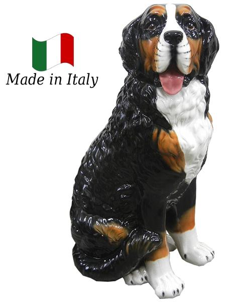 バーニーズマウンテン 置物 オブジェ h6-181 【送料無料】 イタリア 陶器 動物 雑貨 犬 イヌ