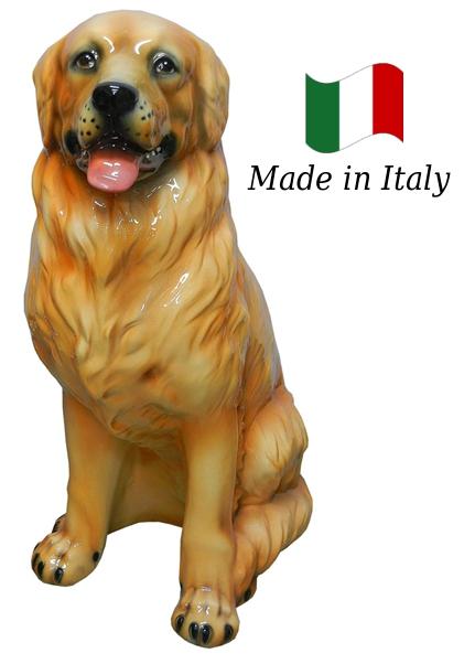 ゴールデンレッドリバー 置物 オブジェ h6-82 【送料無料】 イタリア 陶器 動物 雑貨 犬 イヌ